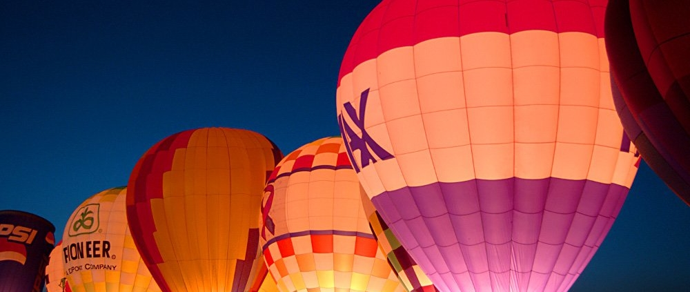 Hot air balloons at night