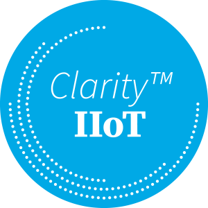 Clarity Hot Trademarked Logo on Blue Circle with White Dots