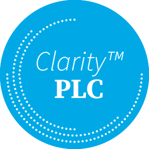 Clarity PLC on Blue Circle with White Dots