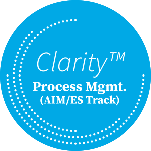 Clarity Process MGMT. (AIM/ES Track) on Blue Circle with White Dots