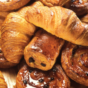 Multiple Pastries, including Cinnamon Rolls and Croissants