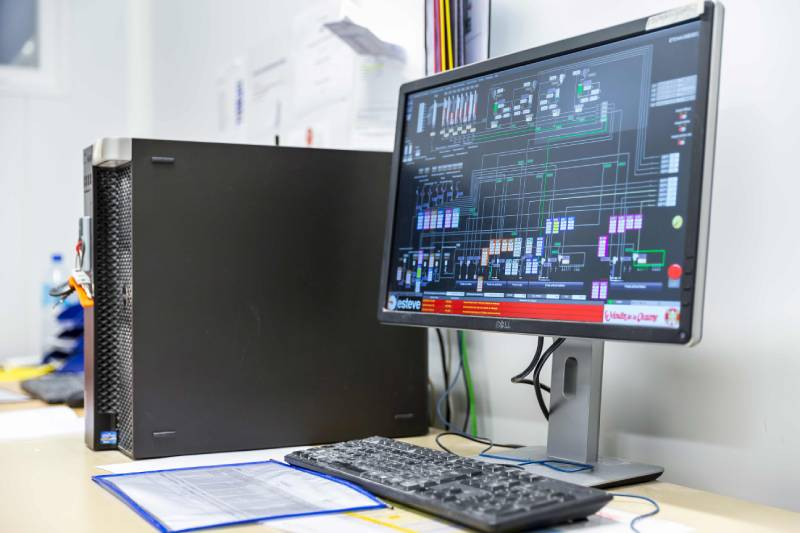 Computer with Technical Diagram on screen