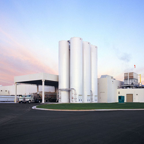 White Silos Outside in the Morning