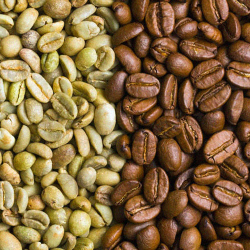 Green Roasted Coffee Beans and Dark Coffee Beans