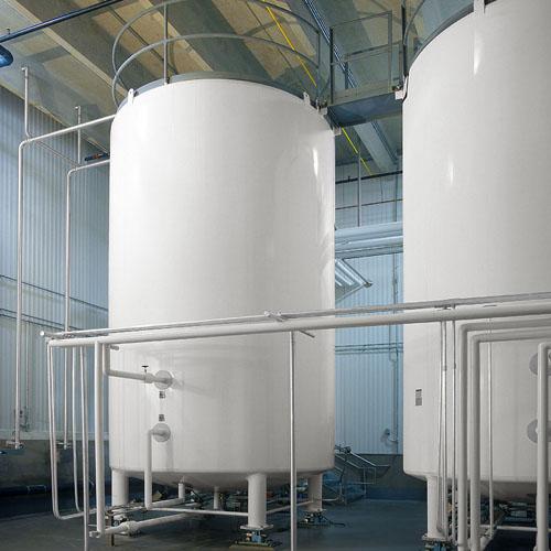 Two White Liquid Storage Silos