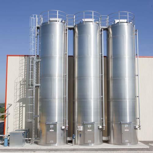 Three Steel Storage Silos outside