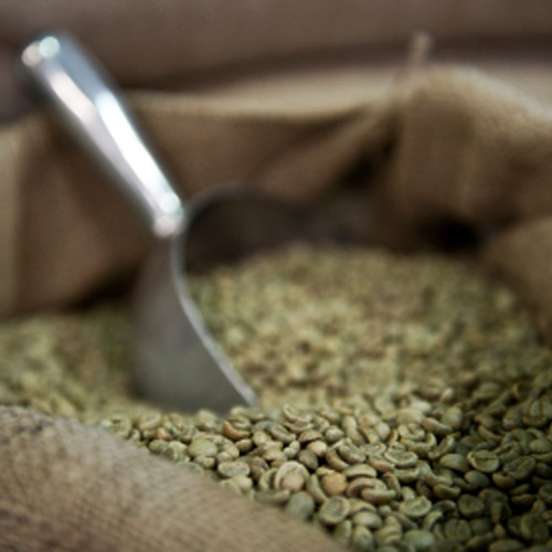 Green Coffee Beans in Canva Bag with Scoop