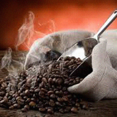 Coffee Beans Spilling out of Canvas Bag with Scoop