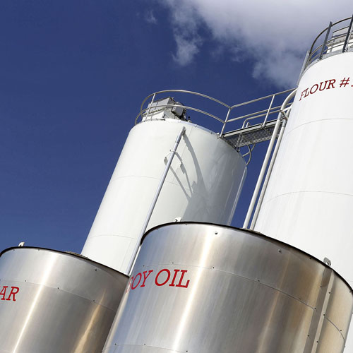 Labeled Outdoor Silos, Including Soy Oil and Flour