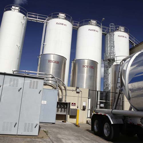 Labeled Outdoor Silos near Truck, Silos include Soy Oil, Sugar, and Flour