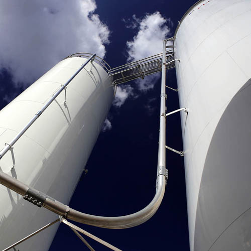 Two Outdoor Silos from Below